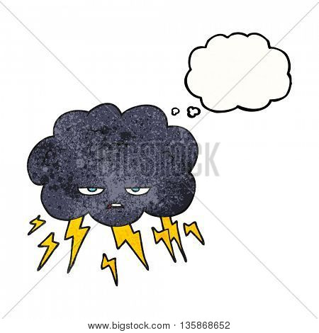 freehand drawn thought bubble textured cartoon thundercloud