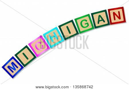 A collection of wooden block letters spelling Michigan over a white background