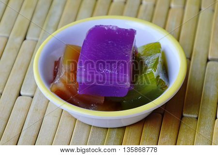layer sweet cake Thai colorful gummy dessert on cup