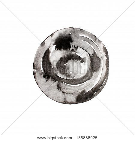 Ink illustration. Isolated on white background. Hand drawn black and gray circle.