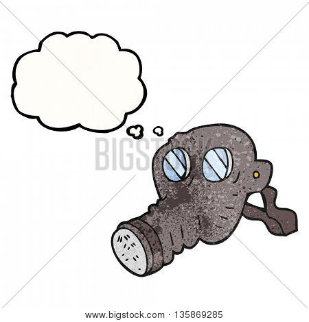 freehand drawn thought bubble textured cartoon gas mask