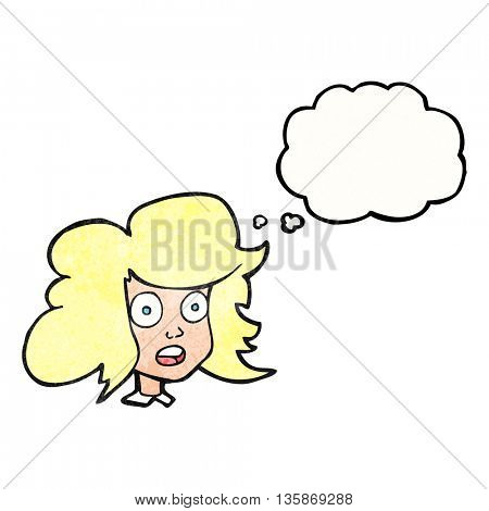 freehand drawn thought bubble textured cartoon surprised female face
