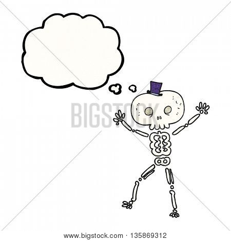 freehand drawn thought bubble textured cartoon dancing skeleton