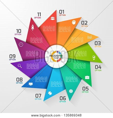 Windmill style circle infographic template for graphs charts diagrams. Business education and industry concept with 11 options parts steps processes.