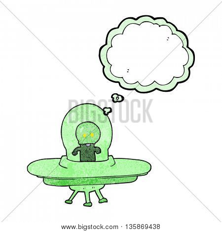 freehand drawn thought bubble textured cartoon alien in flying saucer