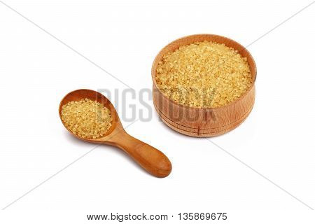 Scoop And Bowl Of Brown Cane Sugar On White