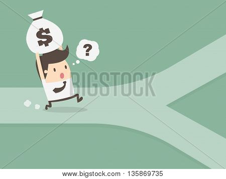businessman on crossroad. personal financial concept. Cartoon illustration