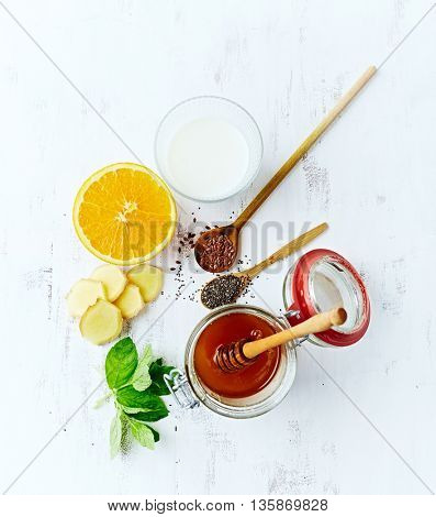 Organic Ingredients for Orange and Ginger Smoothie with Almond Milk (detox smoothie)