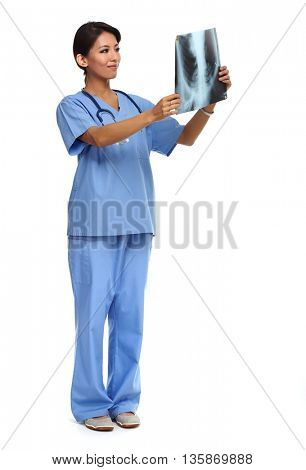 Chinese doctor woman with radiograph.