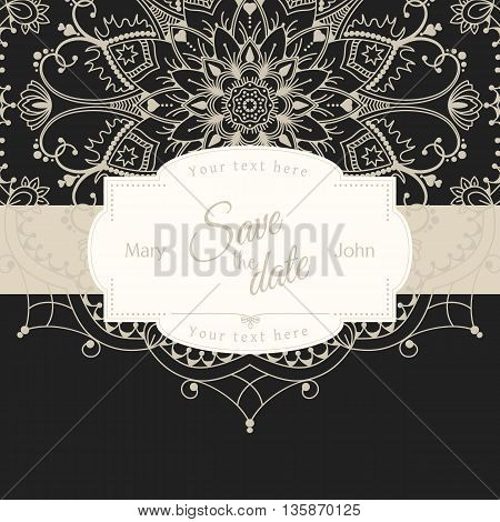 Romantic wedding invitation card with white mandala on black background, ethnic or boho traditional motive, with text Save the date which can be easy replaced, vector illustration, eps 10