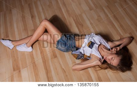 Fashion body of beautiful woman. Woman in jeans texas shorts. Fit slim woman.