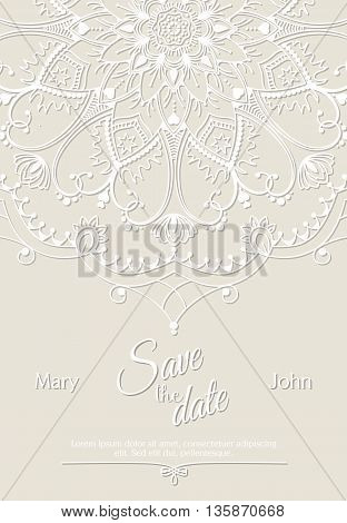 Romantic wedding invitation card with white mandala on beige background, ethnic or boho traditional motive, with text Save the date which can be easy replaced, vector illustration, eps 10