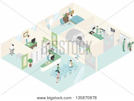 Doctors and patients are in a hospital