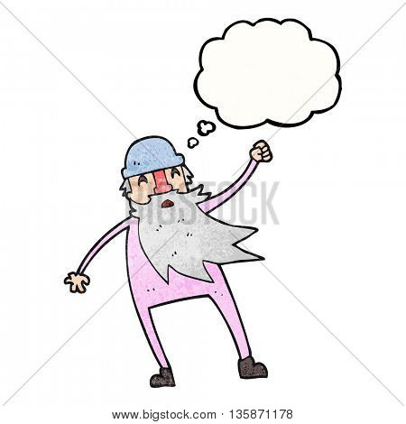 freehand drawn thought bubble textured cartoon old man in thermal underwear