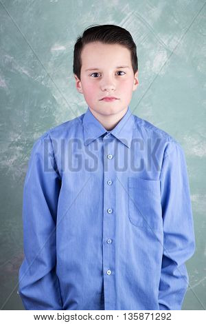 Portrait Of The Clever And Beautiful Schoolboy On Green Grange Background