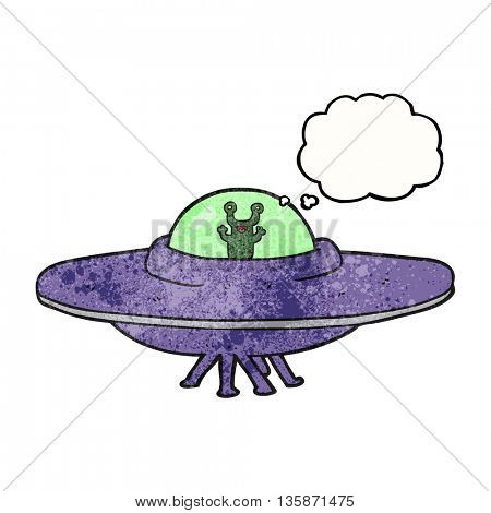 freehand drawn thought bubble textured cartoon alien spaceship