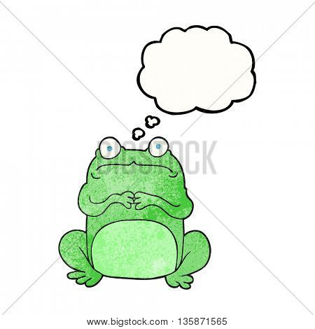 freehand drawn thought bubble textured cartoon nervous frog