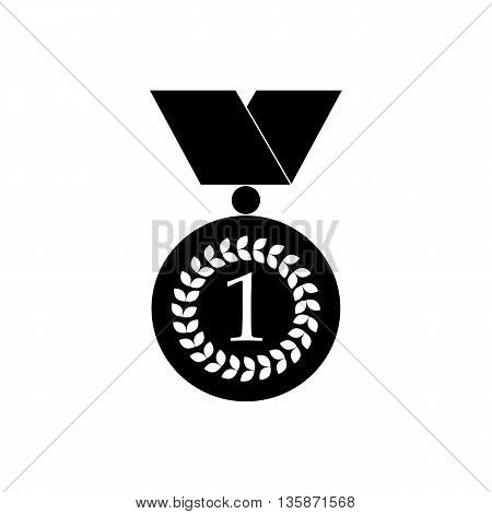 Number one gold medal icon in black simple style isolated on white background