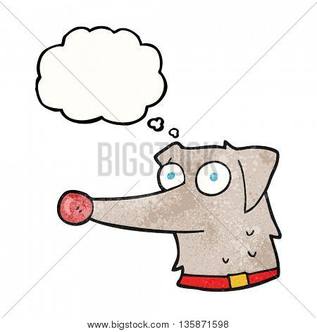 freehand drawn thought bubble textured cartoon dog with collar