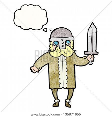 freehand drawn thought bubble textured cartoon saxon warrior