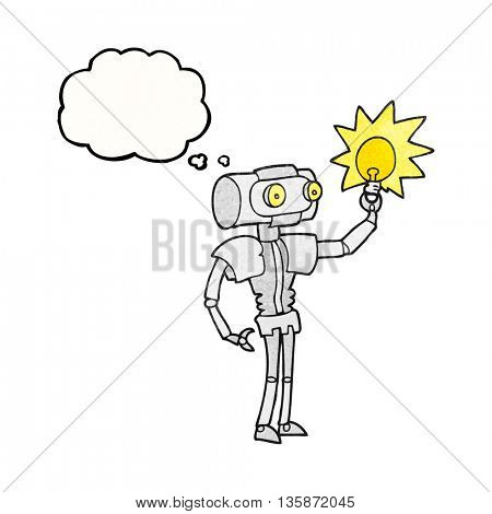 freehand drawn thought bubble textured cartoon robot with light bulb