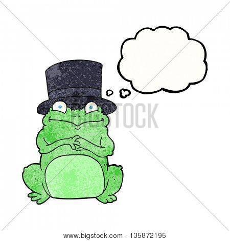 freehand drawn thought bubble textured cartoon frog in top hat
