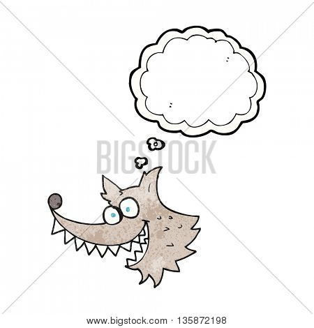 freehand drawn thought bubble textured cartoon crazy wolf