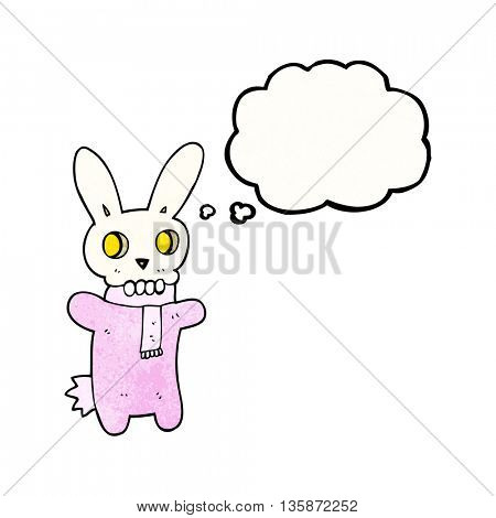 freehand drawn thought bubble textured cartoon spooky skull rabbit