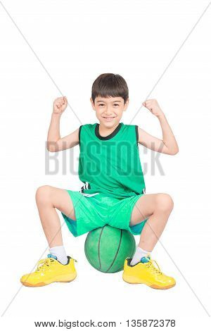 Little Boy Playing Greea Basketball In Green Pe Uniform Sport Clipping Path Isolate On White Backgro