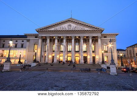MUNICH,GERMANY- MAY 18, 2011: National Theater (Opera) of Munich at twilight on May 18, 2011 in Munich, Germany. It is the former royal opera house of the Bavarian monarchs in Munich city center.