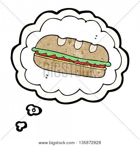 freehand drawn thought bubble textured cartoon huge sandwich
