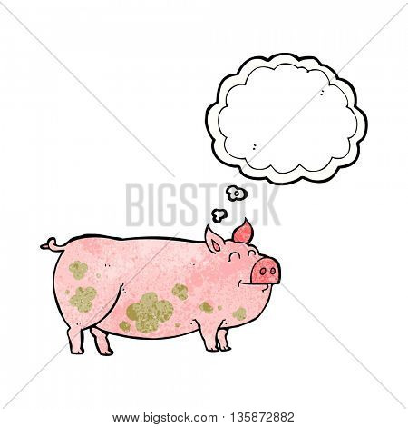 freehand drawn thought bubble textured cartoon muddy pig