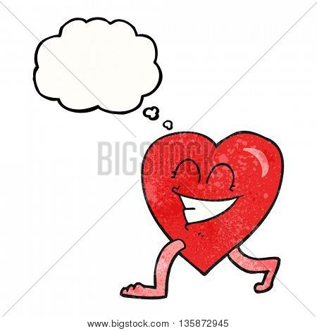 freehand drawn thought bubble textured cartoon walking heart