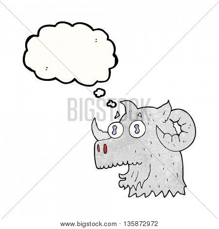 freehand drawn thought bubble textured cartoon ram head