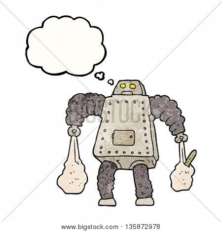 freehand drawn thought bubble textured cartoon robot carrying shopping