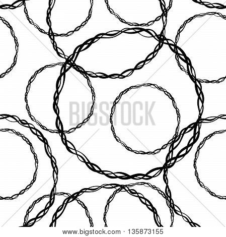 Abstract pattern with different rings braided from twigs. Seamless chaotic texture