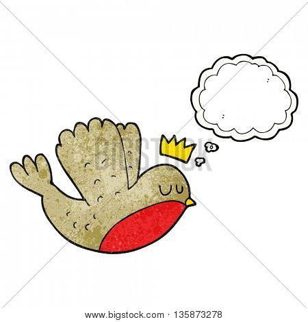 freehand drawn thought bubble textured cartoon flying christmas robin with crown