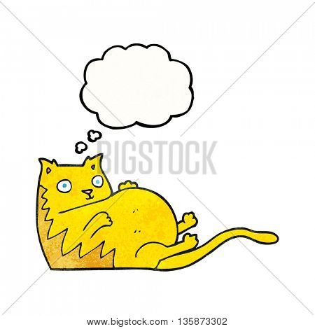 freehand drawn thought bubble textured cartoon fat cat