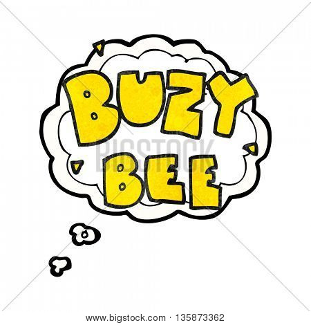 freehand drawn thought bubble textured cartoon buzy bee text symbol