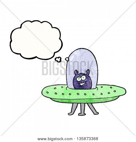 freehand drawn thought bubble textured cartoon space alien