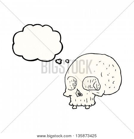 freehand drawn thought bubble textured cartoon old skull