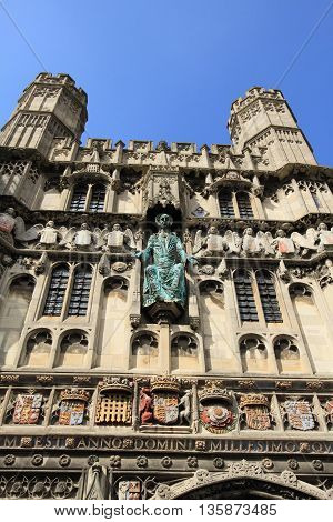 gate to Canterbury Cathedral, landmark in Kent, England