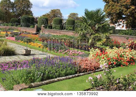 London colorful Kensington palace garden, United Kingdom