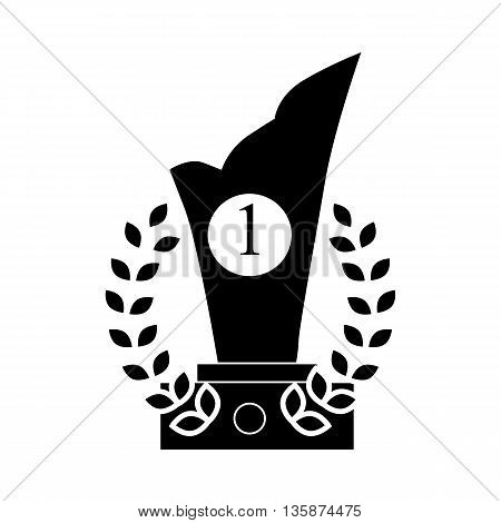 Trophy and prize symbol icon in black simple style isolated on white background