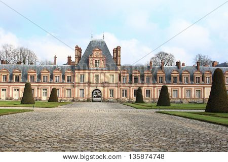 Palace of Fontainebleau, one of the largest royal chateaux and a unesco world heritage in France