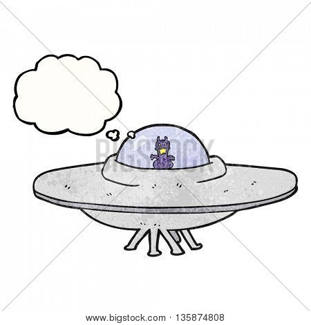 freehand drawn thought bubble textured cartoon UFO