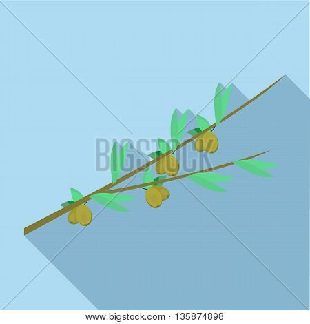 Olive branch icon in flat style with long shadow. Cultivation of olives symbol