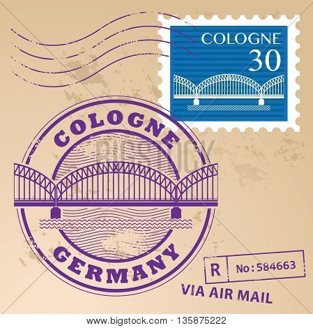 Grunge rubber stamp set with words Cologne, Germany inside, vector illustration