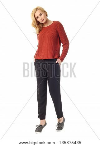 Beauty Blond Woman In Modern Pants Isolated