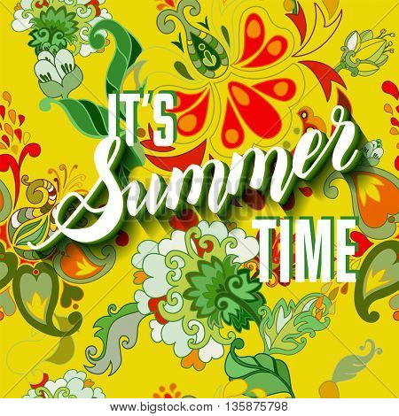 It is summer time yellow lettering background. i